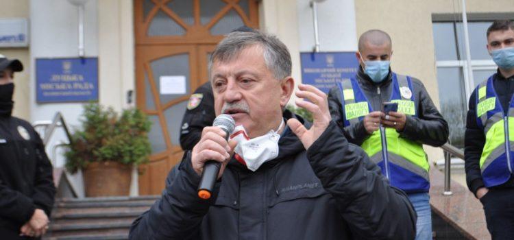 Богдан Шиба з лучанами мітингували проти «коронавірусного» блоку в пологовому (ФОТО)
